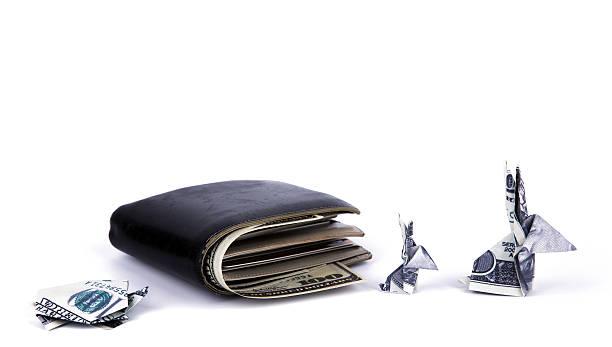 Business-Konzept: Dollar-Währung origami Kaninchen und Schildkröten-w – Foto