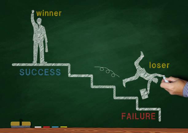 黒板に描かれたビジネスコンセプト - 負け ストックフォトと画像
