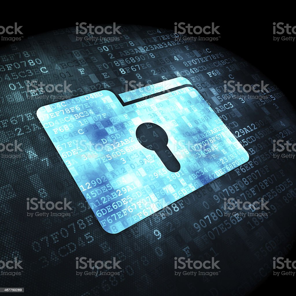 Business concept: Folder With Keyhole on digital background stock photo