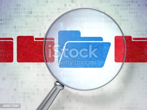 istock Business concept: Folder with optical glass on digital backgroun 459570067