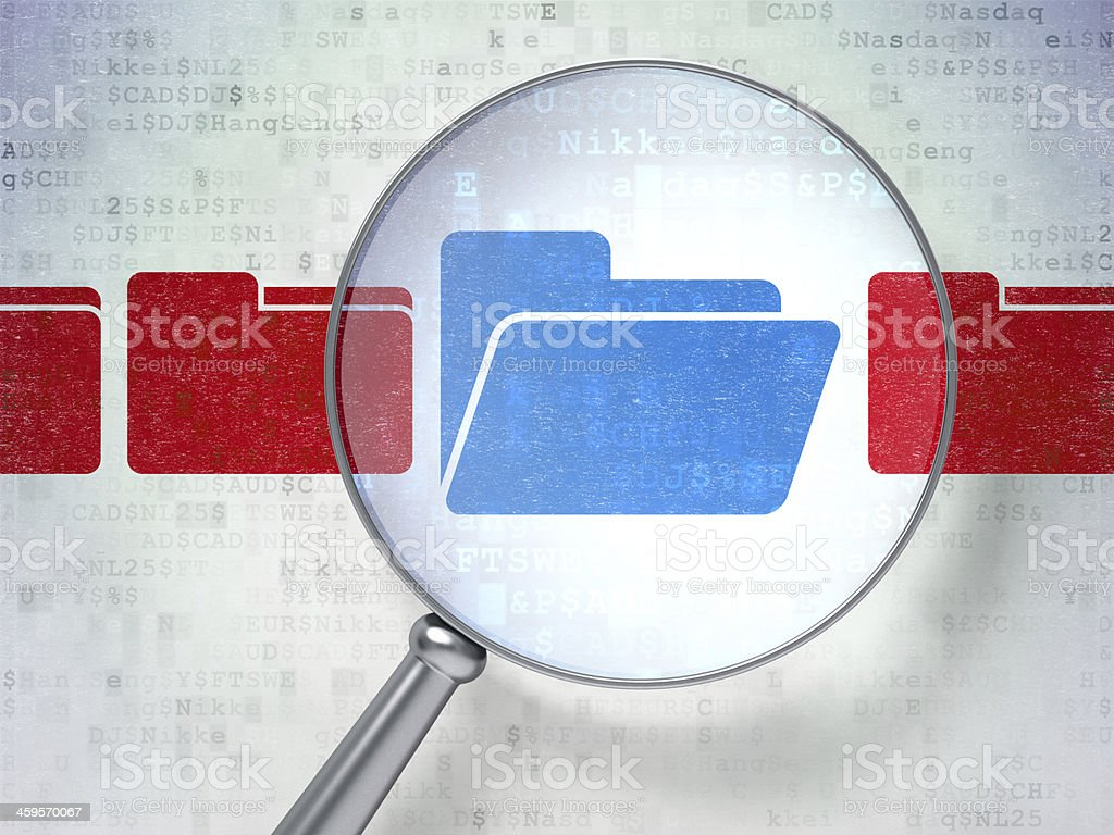 Business concept: Folder with optical glass on digital backgroun stock photo