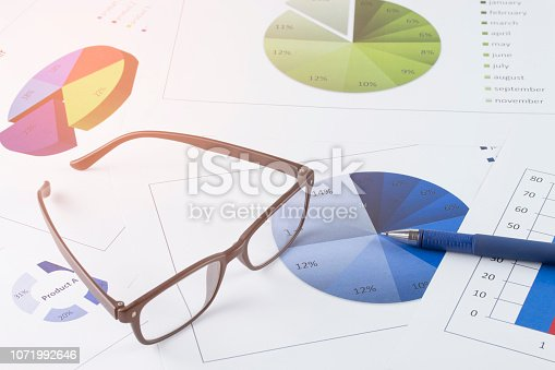 863469700 istock photo business concept : graph with glasses and pen on stock market report as background 1071992646
