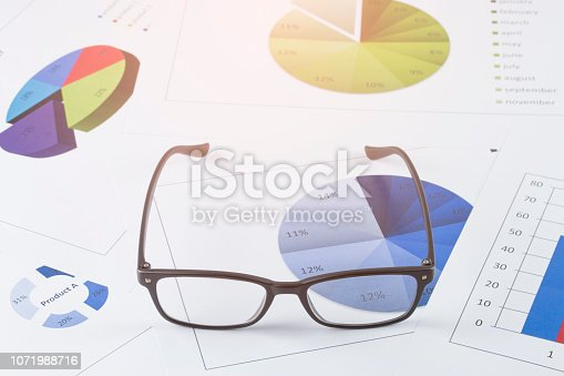 863469700 istock photo business concept : graph with glasses on stock market report as background 1071988716