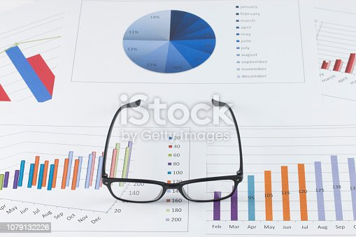 863469700 istock photo business concept : graph with glasses on stock market report as background 1079132226