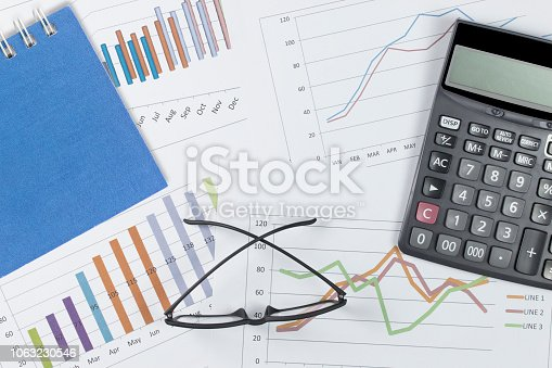 863469700 istock photo business concept : graph with notebook, glasses and calculator on stock market report as background 1063230546