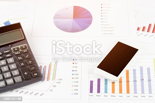 863469700 istock photo business concept : graph with smartphone and calculator on stock market report as background 1069192196