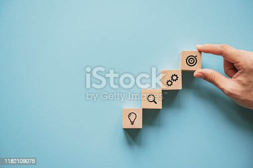 istock Business concept growth success process, Woman hand arranging wood block with icon business strategy and Action plan. 1182109075