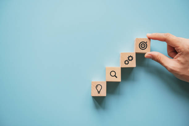 Geschäftskonzept Wachstumserfolg Prozess, Frau Hand arrangieren Holzblock mit Icon Business-Strategie und Aktionsplan. – Foto
