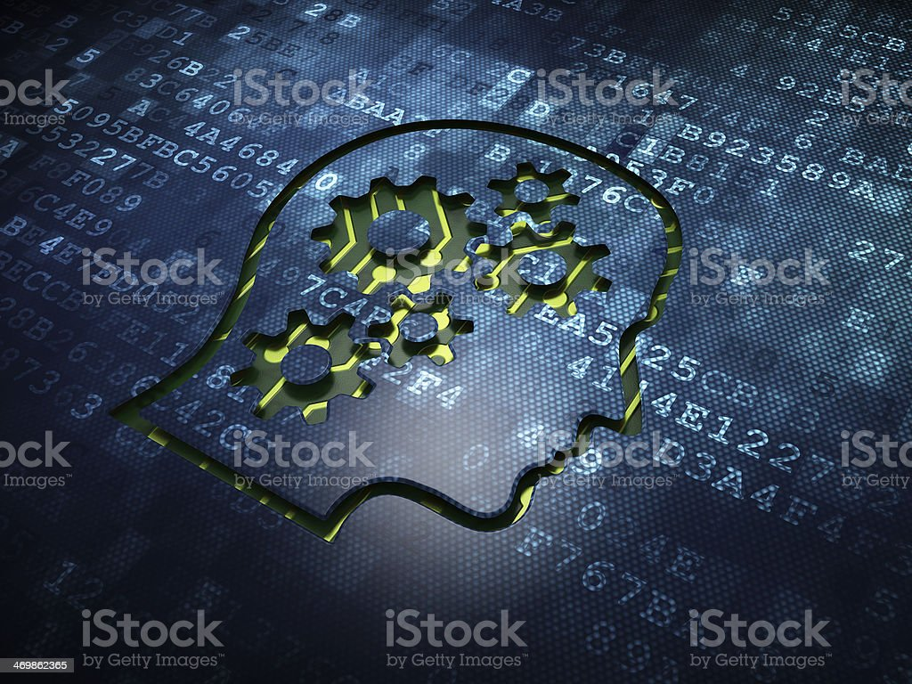 Business concept: Head With Gears on digital screen background stock photo