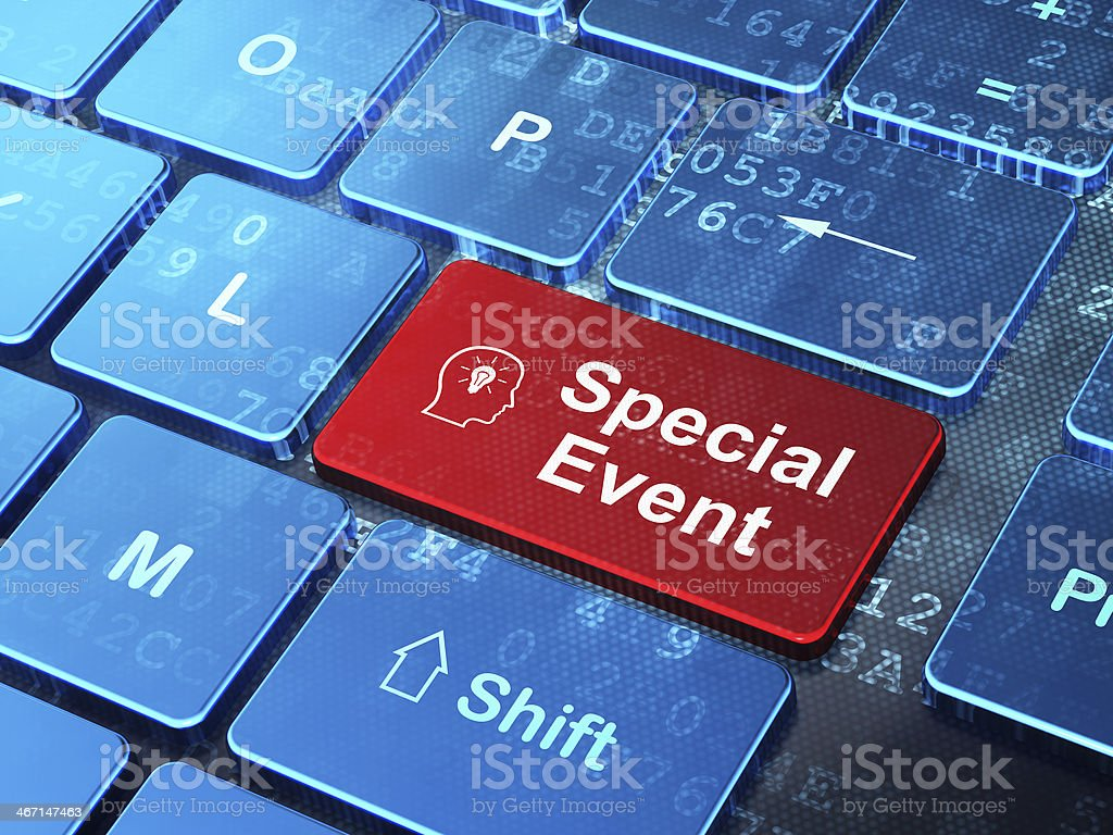 Business concept: Head With Lightbulb and Special Event on keyboard royalty-free stock photo