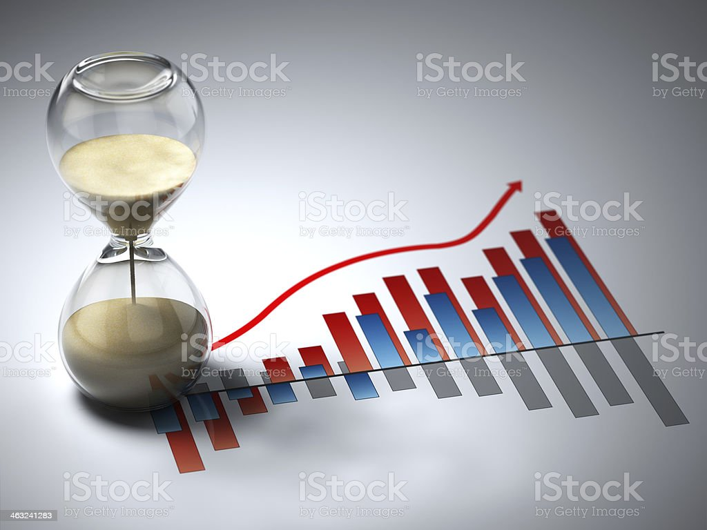 Business concept. Hourglass and graph. stock photo