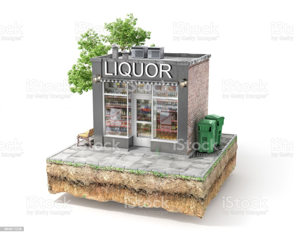 Business concept. Liquor shop isolated on a white. 3d illustration royalty-free stock photo