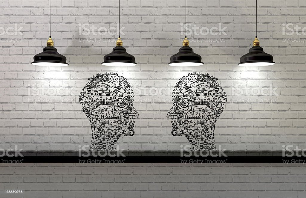 Business concept, man drawing  with global concepts stock photo