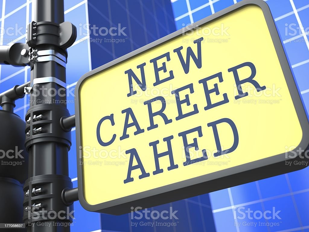 Business Concept. New Career Ahead Roadsign. royalty-free stock photo