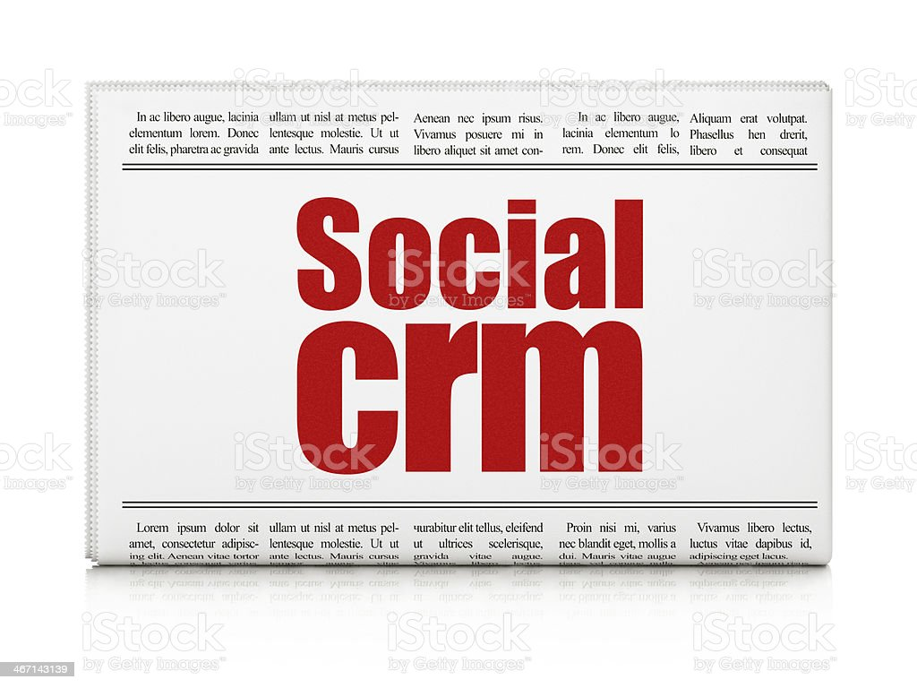Business concept: newspaper headline Social CRM royalty-free stock photo