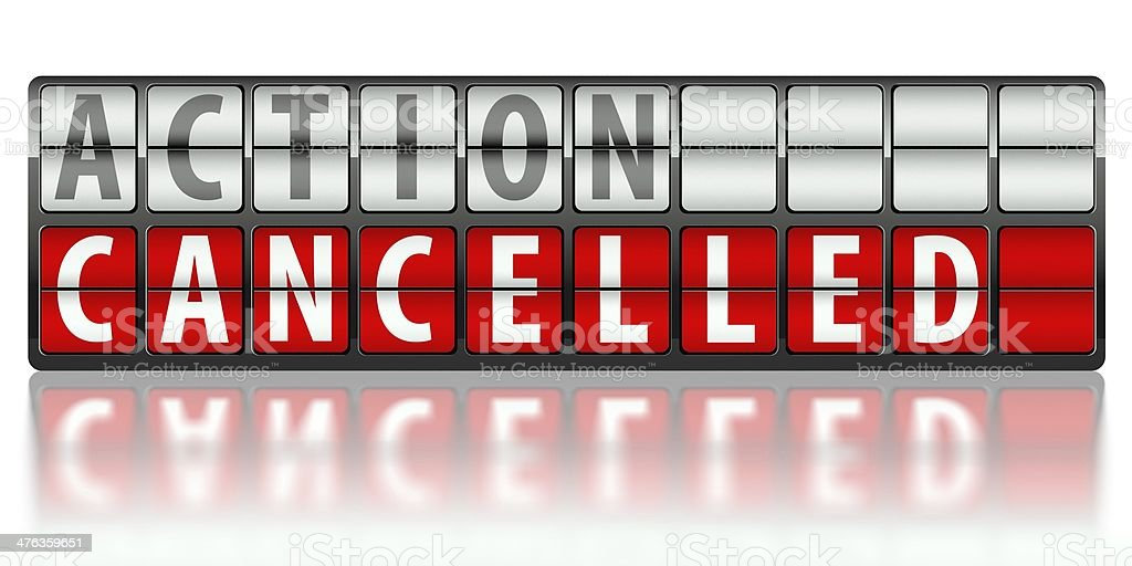 Business concept of action, cancelled royalty-free stock photo