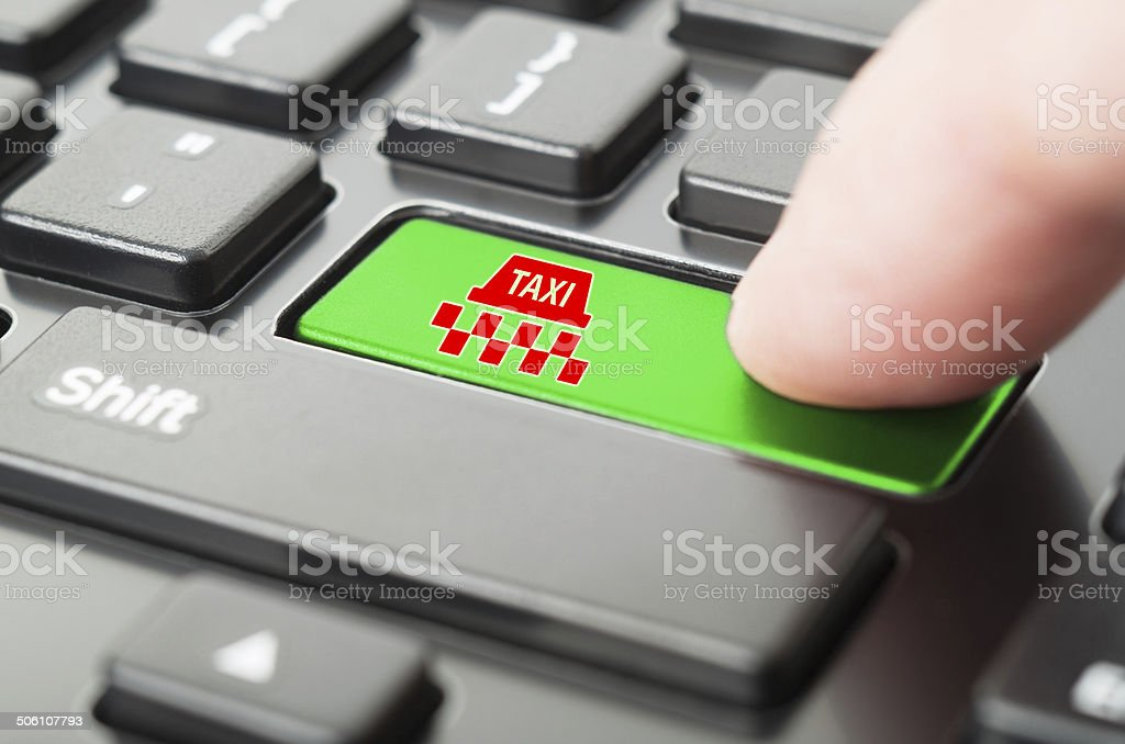Business concept of ordering a taxi online stock photo