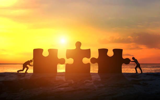 Business-Konzept der Teamarbeit mit Puzzle. Geschäftserfolg – Foto
