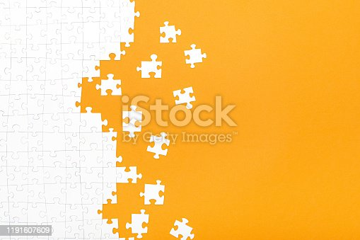 istock Business concept of white jigsaw puzzle. 1191607609