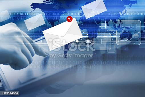 545576042 istock photo Business concept of young woman are checking E-mail marketing 639514554