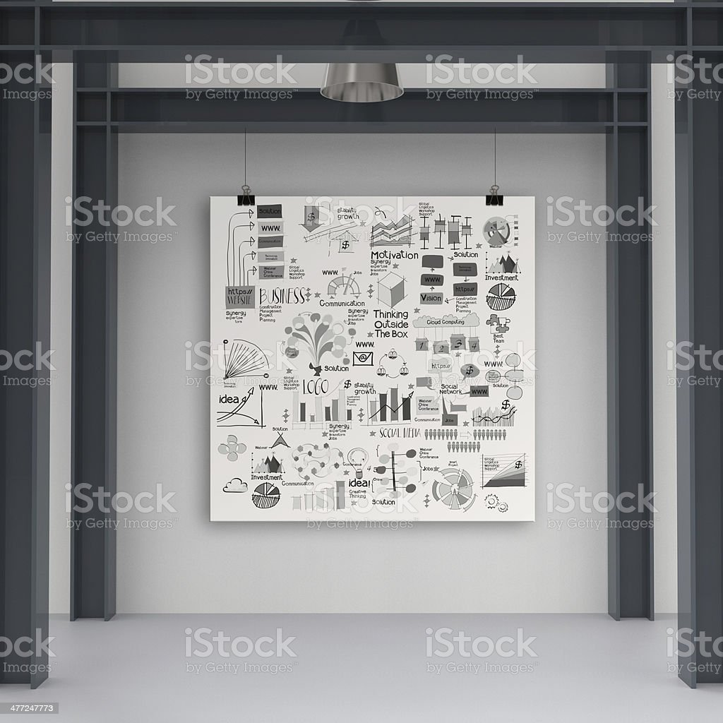 business concept on poster with composition wall with steel frame...