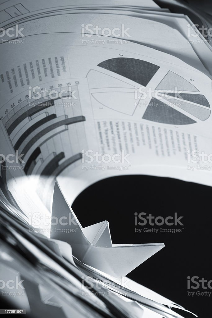 Business concept, paper boat and tsunami documents royalty-free stock photo
