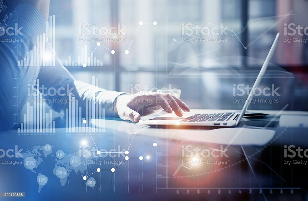 Business concept photo.Businessman working investment project modern office.Touching