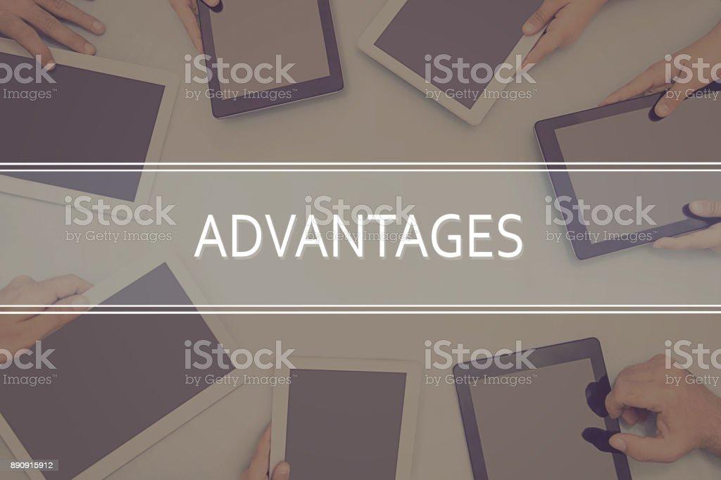 ADVANTAGES CONCEPT Business Concept. stock photo