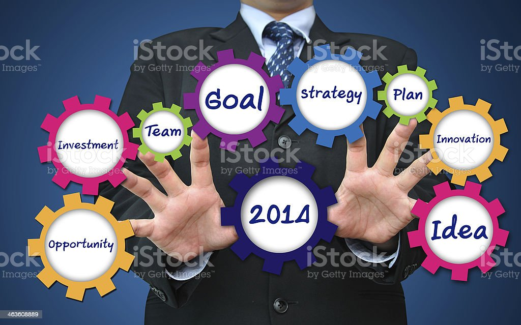 business concept present by gear stock photo