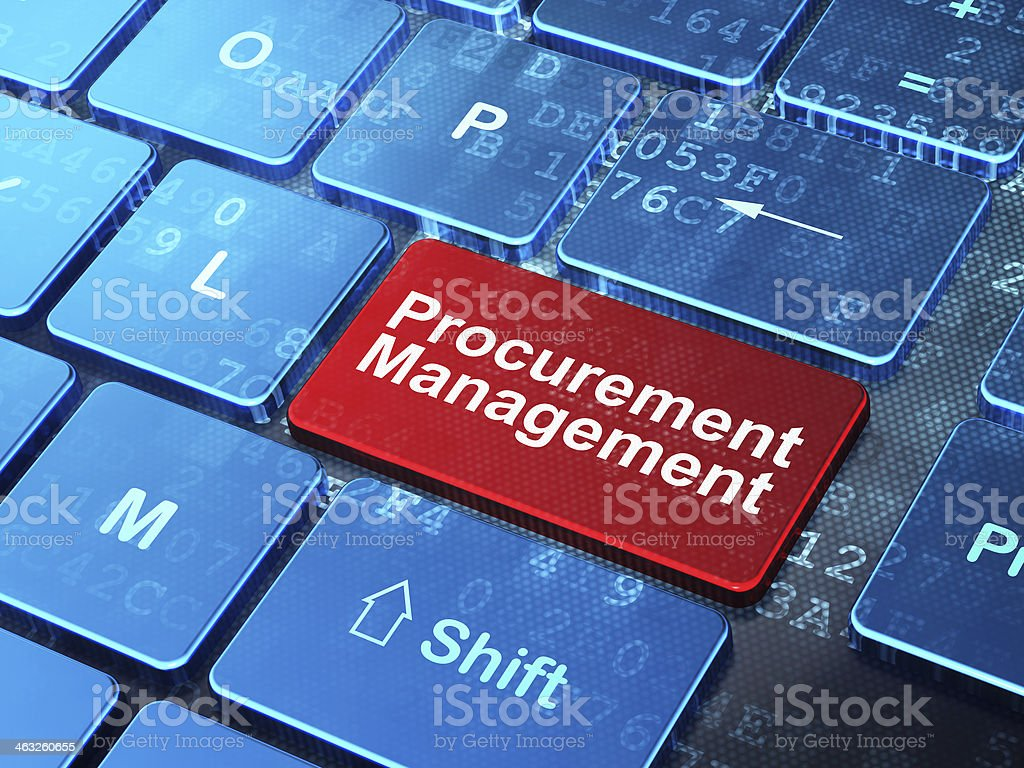 Business concept: Procurement Management on computer keyboard background stock photo