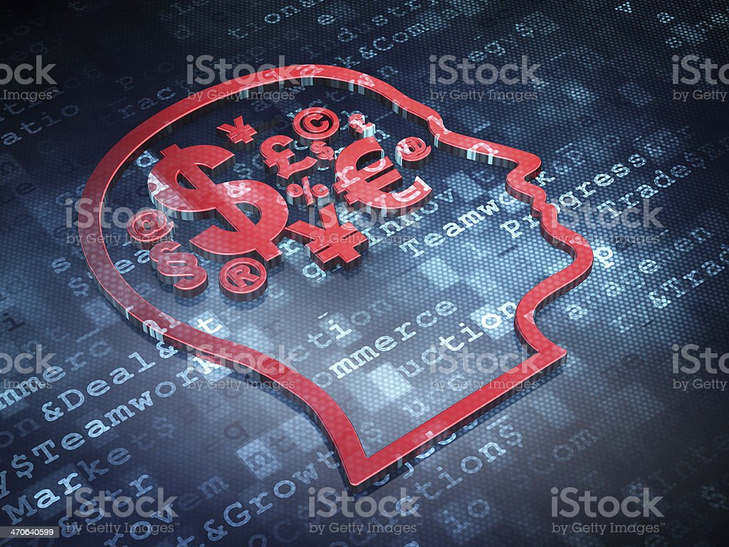 Business concept: Red Head With Finance Symbol on digital background royalty-free stock photo