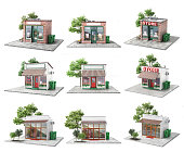 Business concept. Set of stores isolated on a white. 3d illustration