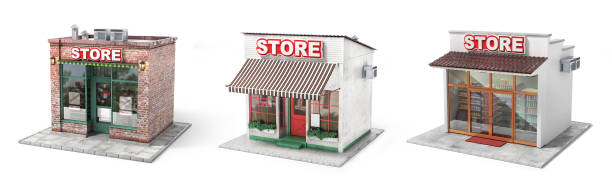 Business concept. Set of stores isolated on a white. 3d illustration stock photo