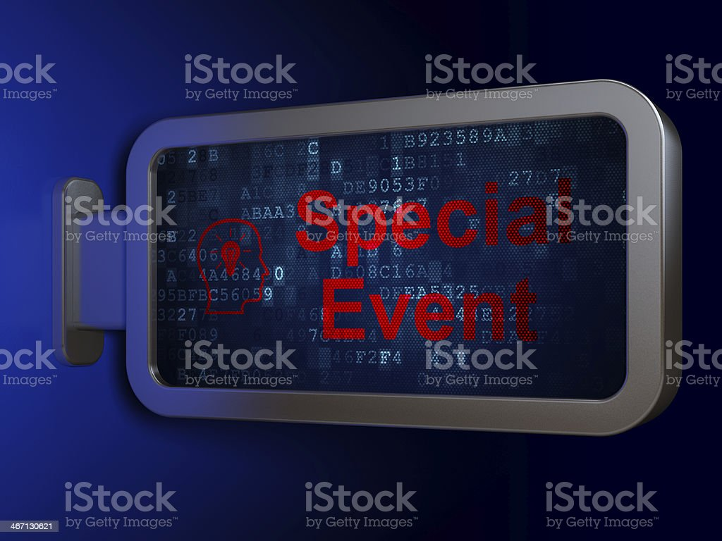 Business concept: Special Event and Head With Lightbulb on billboard royalty-free stock photo
