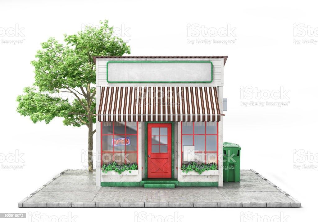 Business-Konzept. Speichern Sie mit leeren isoliert auf einem weißen Schild. 3D illustration – Foto