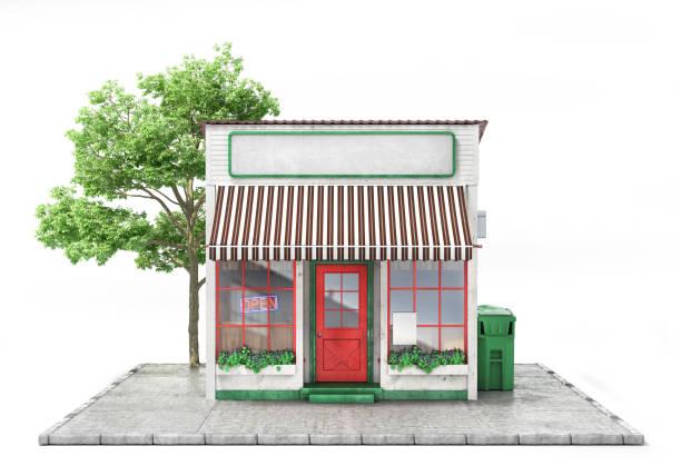 conceito de negócio. loja com tabuleta vazia isolada em um branco. ilustração 3d - facade shop 3d - fotografias e filmes do acervo