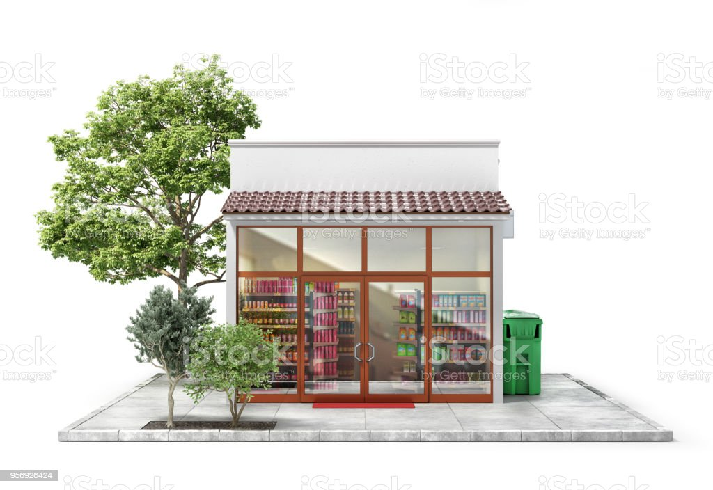 Business concept. Store with empty signboard isolated on a white. 3d illustration stock photo