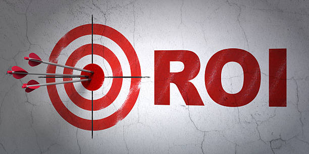 Business concept: target and ROI on wall background stock photo