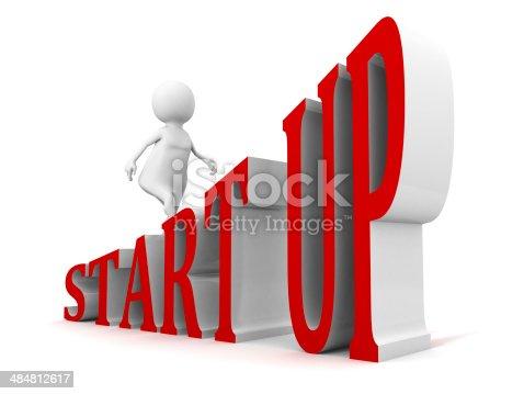 START UP business concept text ladder walking 3d businessman