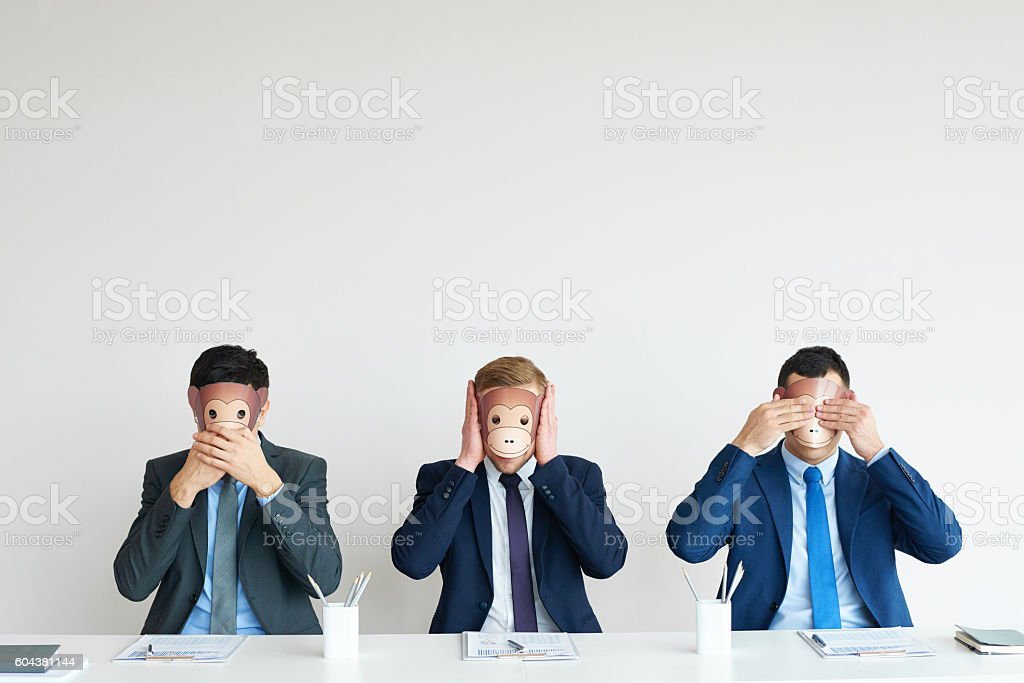 Business concept: three wise monkeys stock photo