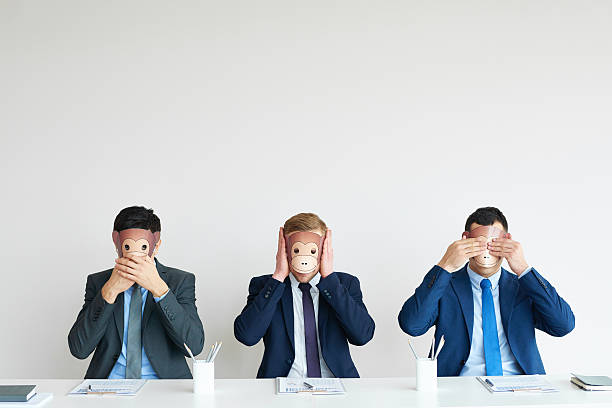 Business concept: three wise monkeys Three businessmen like wise monkeys showing blind, deaf and dumb hear no evil stock pictures, royalty-free photos & images