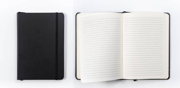 concept d'affaires-collection de vue de dessus de cahier noir sur le bureau blanc de fond pour la maquette - palm photos et images de collection
