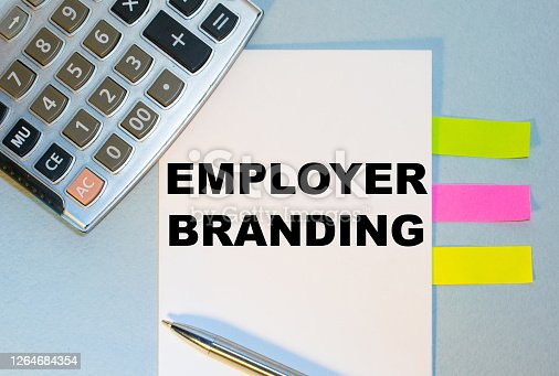 istock Business concept - Top view notebook writing Employer Branding. 1264684354
