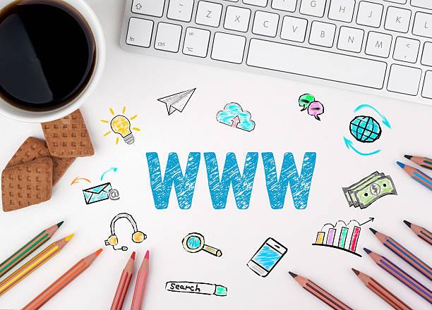 www, business concept. white office desk - www kaffee oder tee stock-fotos und bilder