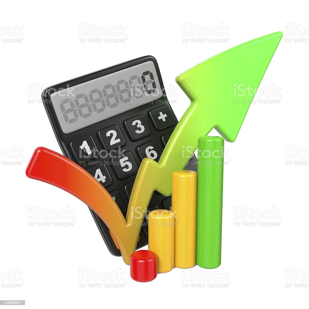 Business Concept with Calculator and Diagram. royalty-free stock photo