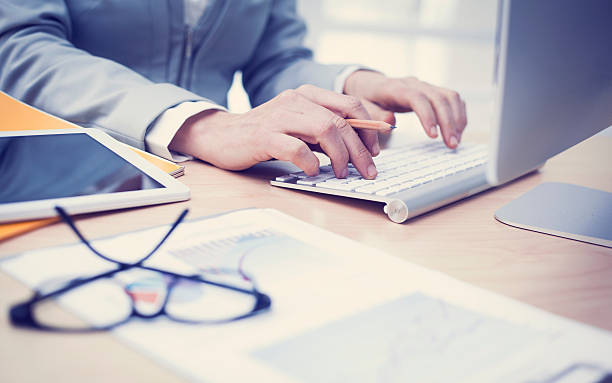 Business concept working in office stock photo