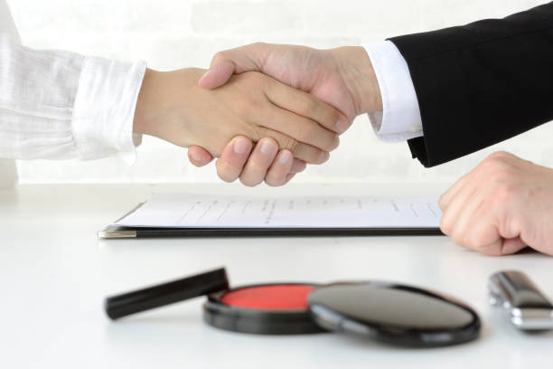 Business concepts, contract scene stock photo