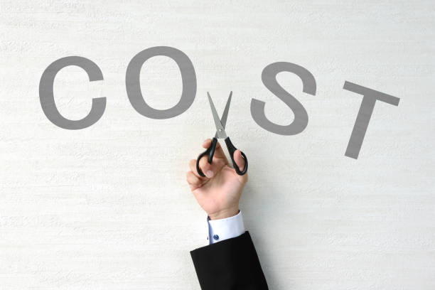Business concepts, cost cutting stock photo