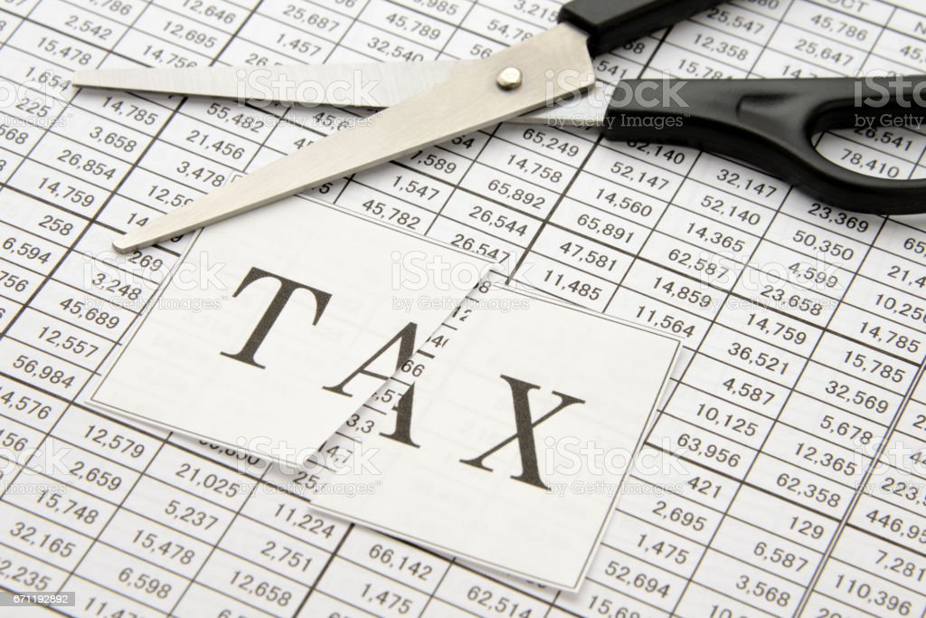 Business concepts, cutting tax stock photo
