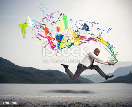 istock Business concepts from laptop of running man 178407040